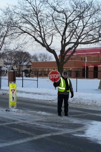Crossing Guard Barb Sullivan near Northside Elementary.