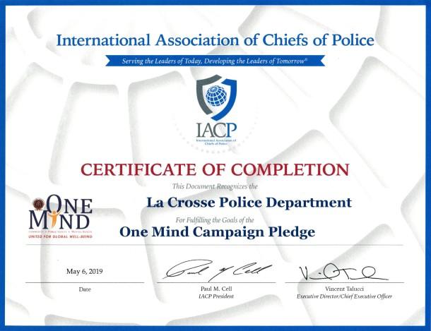 One Mind Campaign Certificate 10072019